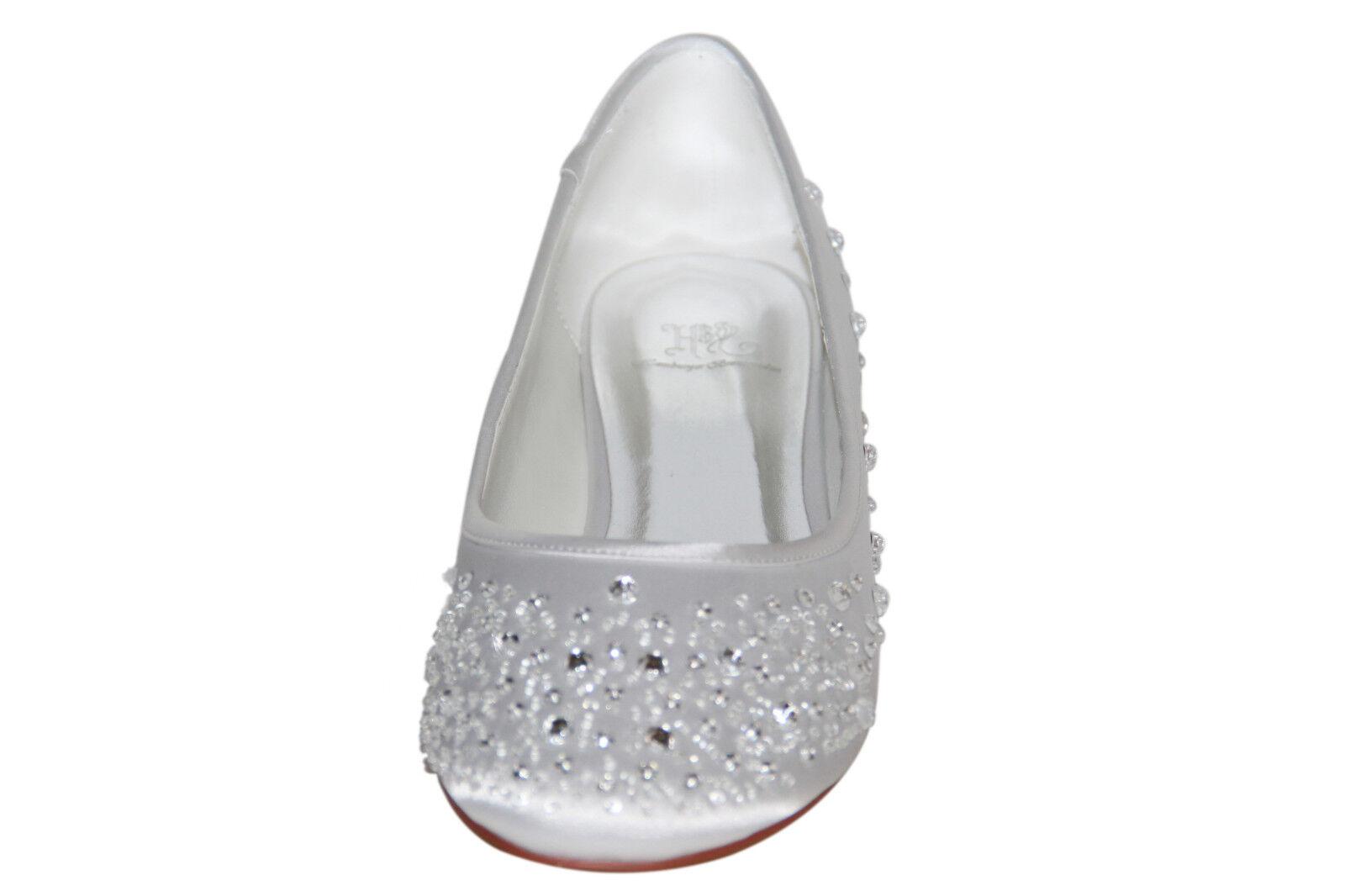 Hbh Piatta Ballerine Scarpe Da Sposa, Raso, Con Strass 1cm, Decorato