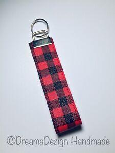 friend gift gift for family Car accessories Fabric Key Fob Black plaid Wristlet Keychain Key chainfob Modern Key holder
