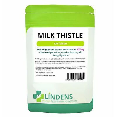 Milk Thistle Seed (equivalent to 2000mg) - 120 Tablets Detox & Liver (LINDENS)