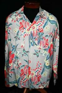 Rare-Collection-Quality-1940-039-s-Silky-Rayon-Long-Sleeve-Hawaiian-Shirt-Size-LG