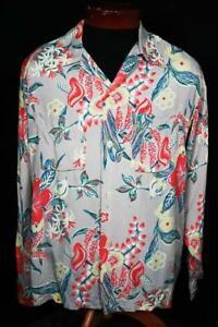 Seltene-Sammlung-Qualitaet-vierziger-Silky-Rayon-Long-Sleeve-Hawaii-Shirt-Groesse-LG