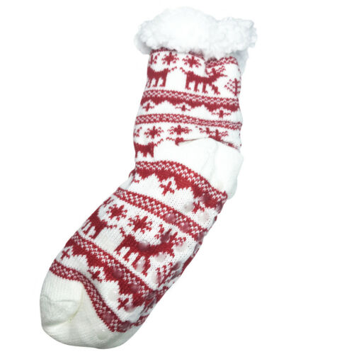 Women Girl Knit deer Snow flake Anti skid Winter Slipper Socks Fur Shearling