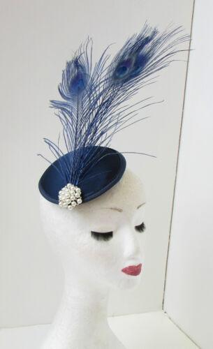 Navy Blue Peacock Feather Fascinator Headpiece White Hair Clip Vintage Races 200