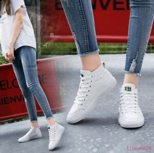 Women/'s Flat  Board Shoes Round toe Lace up Ankle High Fashion Sneakers Comfort