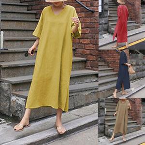 ZANZEA-Women-3-4-Sleeve-Casual-Split-Hem-Long-Shirt-Dress-Summer-T-Shirt-Dress