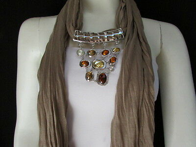 Women Scarf NecklaceTaupe Brown Soft Fabric  Silver Triangle Pendant Big Beads