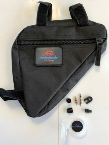 1 RACE-READY..Triangle Bike Saddle Bag with Tube Kit...Cycling Tool Bag...Black