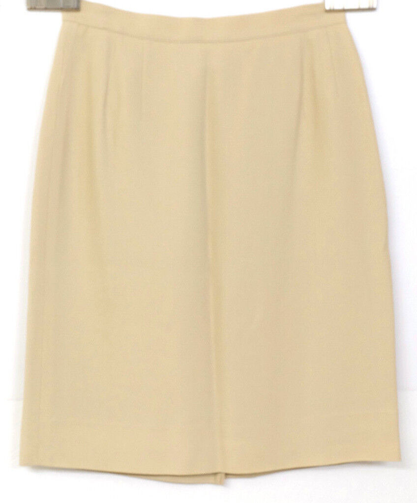 NWT Giorgio Armani Women's Sz 6 Beige Pleated Slit Pencil Skirt Made in  MS