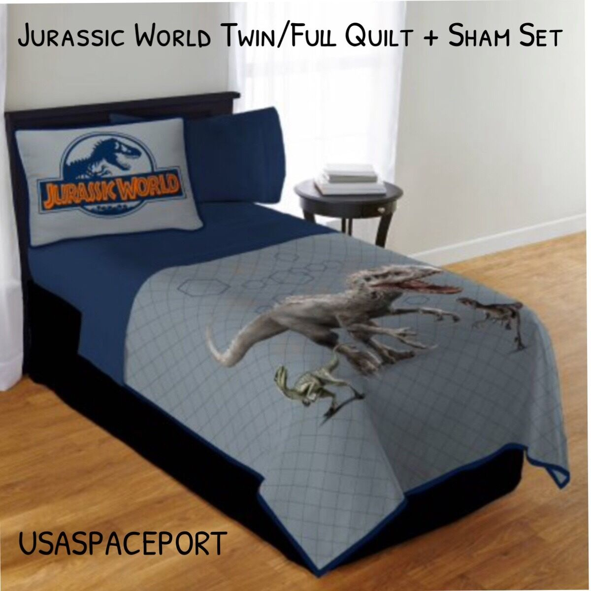 Jurassic World Dinosaur Park Couette + Oreiller Sham Set TWIN Full Simple Double T-Rex