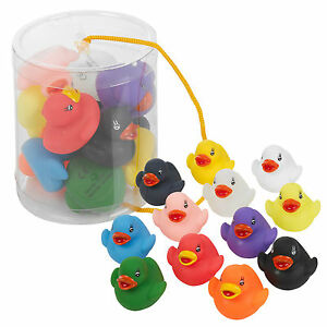 12-Floating-Multi-Coloured-Rubber-Bath-Ducks-Baby-Fun-Toy-In-Tub-Gift-Present