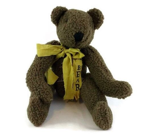 Vintage Teddy Bear Jointed Arms Legs giallo Ribbon Bow Button Eyes 17  Tall