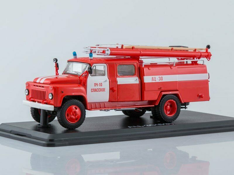 Scale model truck 1 43 GAZ-53A AC-30 106A, fire station No. 10 Spasskoe