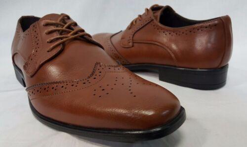 NEW Mens Cognac Brown Wing Tip Groomsmen Oxfords Dress Shoes TUXXMAN Sale