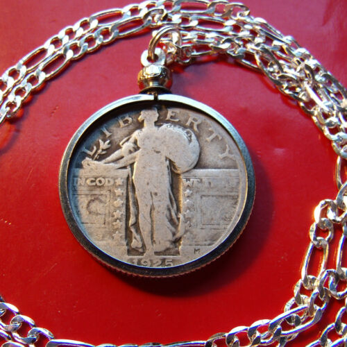 """1920/'s  Silver US Standing Liberty Quarter on a 30/"""" 925 Sterling Silver Chain"""