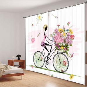 2 Panels 3D Balcony Flowers Sea Landscape Window Curtains Blockout Drapes Fabric