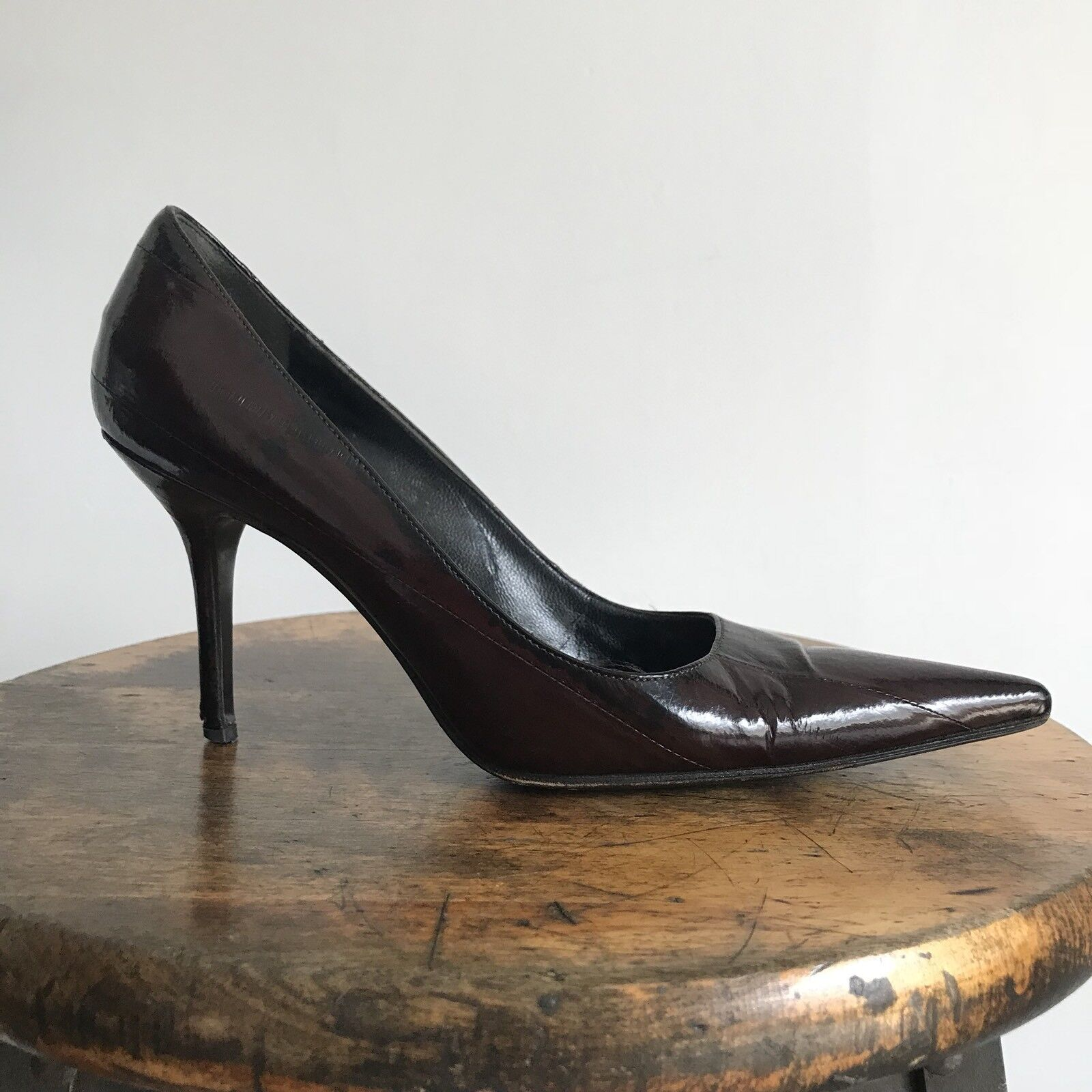 Dolce & Gabbana Dark Braun Eel Skin Pointy Toe Pump Classic Work Wear 37.5