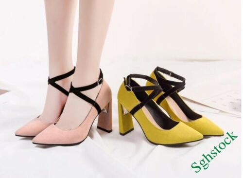 Sweet Women/'s Pointy Toe Floral Faux Suede Cross Strap Heels Shoes Party Pumps