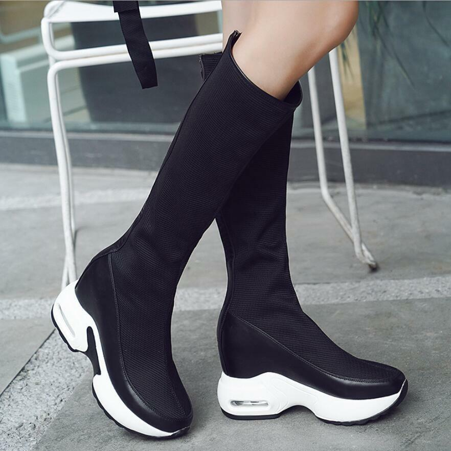Womens Ladies Knee High Hidden Wedge Heel Platform Trainers Sneakers Boots shoes