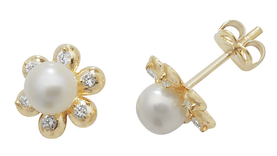 9 carat Yellow gold Ladies Girls Pearl Cubic Zirconia Stud Earrings