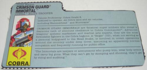 Vintage GI Joe ARAH File Cards YOUR CHOICE Hasbro 1982-1995 G.I Joe Cobra