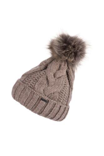 gefütterte Damen Winter Mütze mit Bommel Strickmuster extra dickem Fleece Neu!