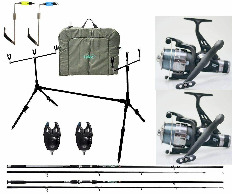 Kit Pesca autoppesca Completo 2 Canne 2 Mulinelli e accessori Vari Kolpo INA