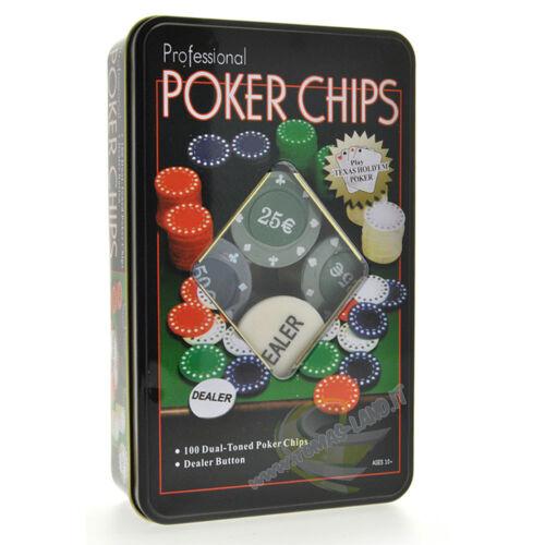Dealer Texas Hold/'em Set Poker Chips Chips Tokens Chips 100 Pieces 5 Colors