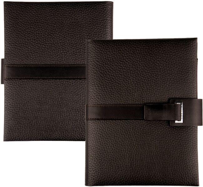 HUGO BOSS A5 Leder Schreibmappe Braun Business Konferenzmappe Magnet Verschluss | Günstigen Preis  | Economy  | Sale Online Shop