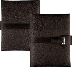 HUGO-BOSS-A5-Leder-Schreibmappe-Braun-Business-Konferenzmappe-Magnet-Verschluss