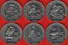 "Burundi Set of 6 Coins 5 Francs 2014 ""birds"" UNC"