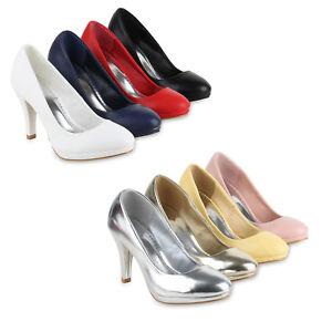 Klassische Damen Pumps Stiletto High Heels Leder-Optik 820571 Schuhe