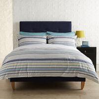 Evolve Christy Seattle Jade Striped Blue White Duvet Quilt Cover Bedding Set