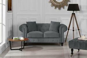 Modern-Chesterfield-Loveseat-Sofa-Velvet-Upholstered-Love-Seat-Couch-Grey