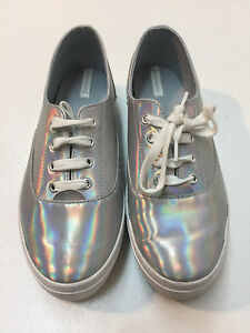 39393b526ef968 Image is loading Stradivarius-Zara-Group-Women-Metallic-Sneakers-Silver- Shoes-