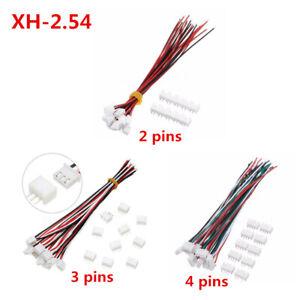 10 juegos mini micro JST xh2.54mm 24awg 2/3/4-pin enchufe conexión con cables 15cm