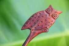 Carved cute OWL wooden HAIR STICK PICK or SHAWL SCARF PIN handmade Sono wood new