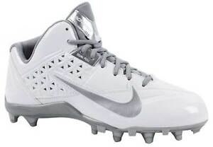 Mens NIKE SPEEDLAX 4 Lacrosse Football Cleat 616297 100 WHITE SILVER Size 10