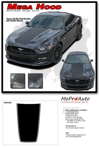 2015-2017 Ford Mustang GT MEGA HOOD Decals Stripe 3M Pro Vinyl Graphic PDS3598