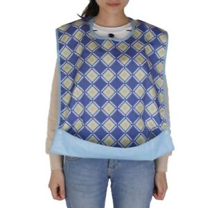 Waterproof-Apron-Adult-Food-Time-Bib-Protector-Help-Disability-Blue-Network