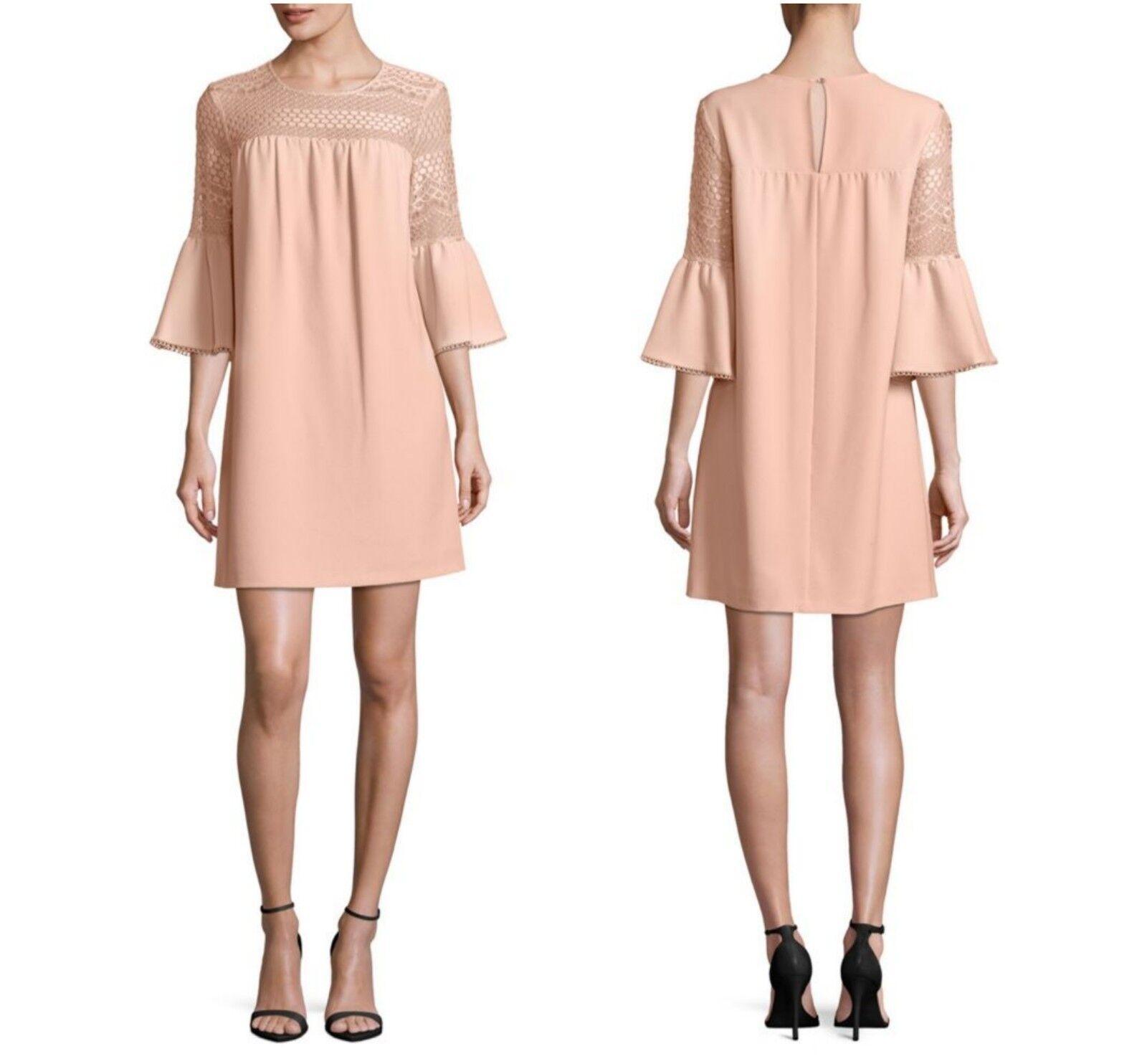 NWT Nanette Lepore damen Blaush Crepe Shift Dress W Lace Yoke Wedding  Größe2