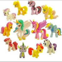 Set of 12 My Little Pony Action Figures Lot Spike Celestia Rainbow Dash Pony New