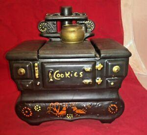McCoy-Pottery-Stove-Cookie-Jar-9in-Black-Vintage-Canister-Wood-Oven-Floral-USA