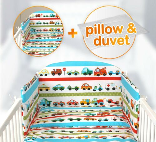 fit Cot 120x60cm or Cot Bed 140x70 3 or 5 pcs BABY BEDDING SET 50 DESIGNS