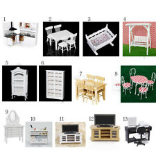 European Miniature Dolls House Furniture Set Kitchen Bathroom Living Rooms 1/12