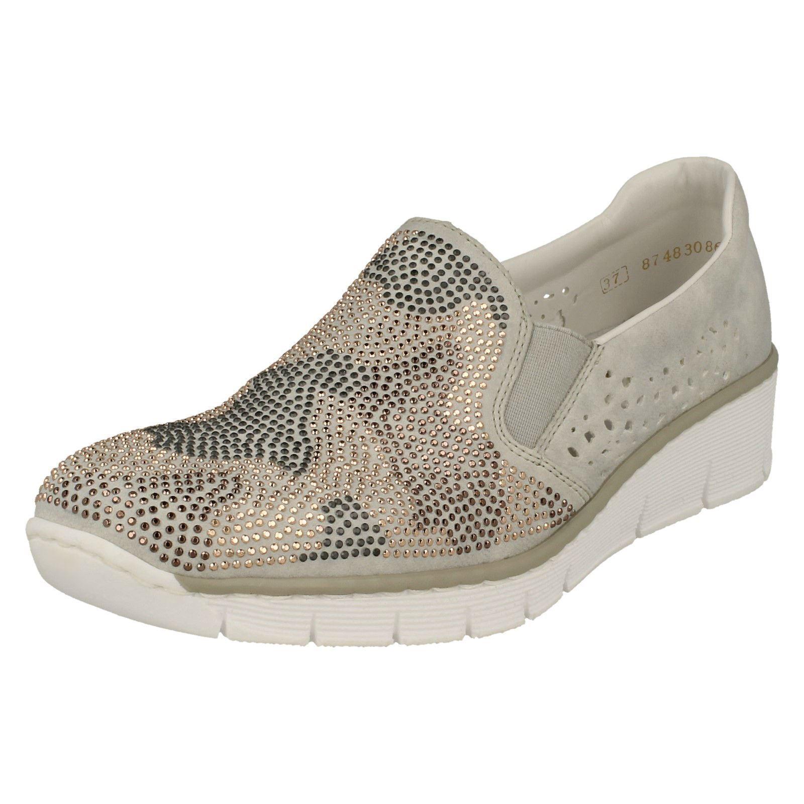 Rieker Damen 537t1 grau Freizeit Slipper Metallisch vorne Schuh