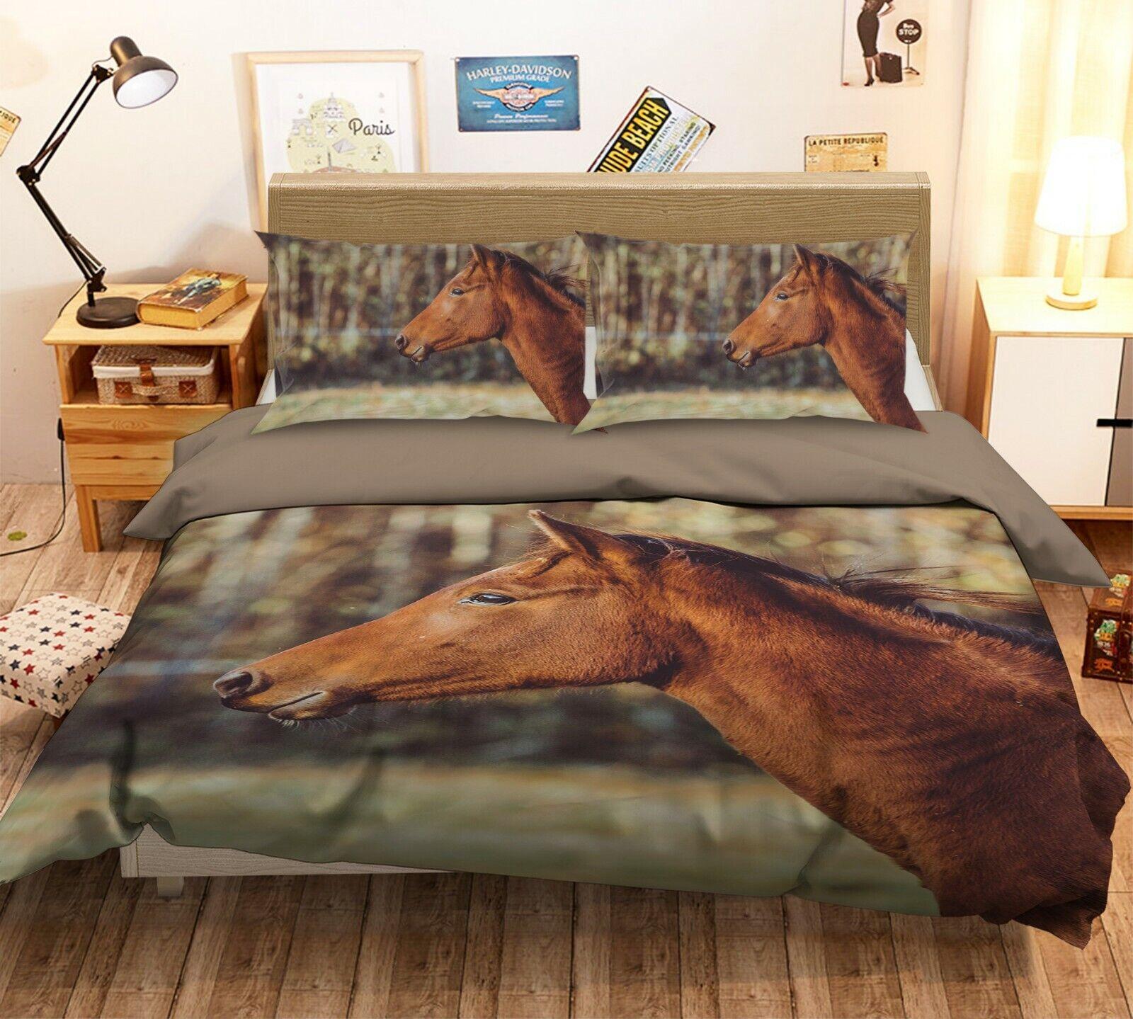 3D Horse Eye N07 Animal Bed Pillowcases Quilt Duvet Cover Queen King Amy