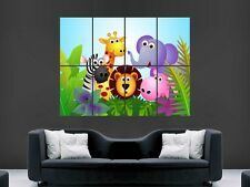 CHILDRENS NURSERY ANIMALS BRIGHT COLOURFUL  LARGE WALL  POSTER PICTURE PRINT