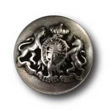 5 edle kleine altsilberfb. Wappen Knöpfe mit Krone, Einhorn & Löwe (1044as-16)