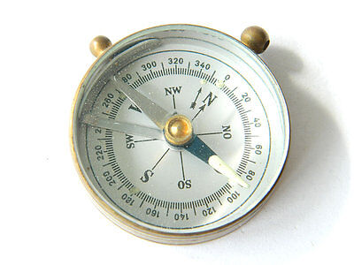 Antique Maritime Brass Magnetic Compass Pendant / Fob, Pocket-sized, Spain