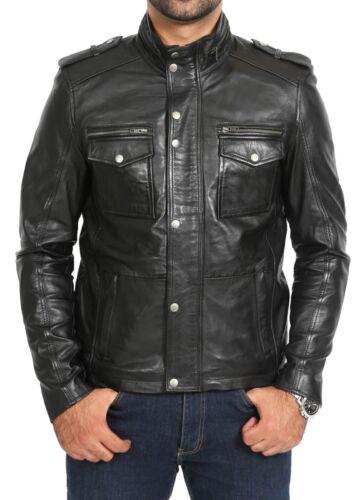 Mens Soft Black Leather Zip Fasten Jacket Standing Collar Designer Reefer Coat
